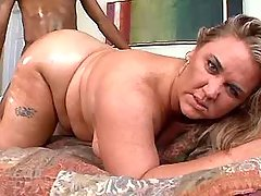 Mature fatty gets cum on large ass