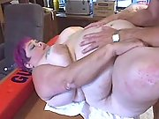 Large woman with big boobs eats cum