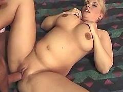 Pregnant blonde hard fucked by horny man in bed