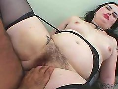 Hot brunette BBW gets double facial