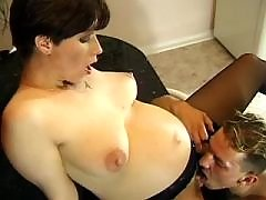 Guy fucking beauriful pregnant lady in stockings