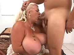 Depraved chubby granny sucking cock of amateur fuy