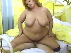 Chubby mature fucks and gets cum
