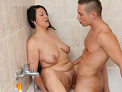 He comes in on the BBW showering after she brings him home and his cock gets inside her