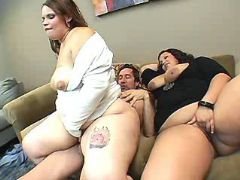 Fat whores jump on dick by turns