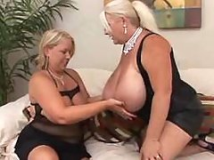 Big woman with huge boobs spoils busty plump girl