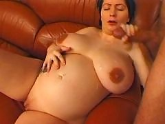 Chubby pregnant mature gets lavish cumshot on tits