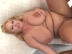 Chubby lady gets cumload on melons