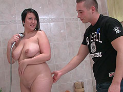He finds the BBW showering and he can't resist putting his dick in her wet hot pussy