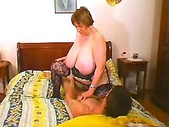 Depraved fat granny fucked and cummed by young guy