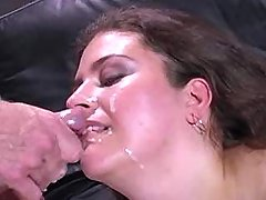 Honey fatty slurps cum after fucks