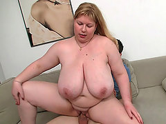 First the BBW hottie rides his cock with her fat pussy and then they fuck from behind